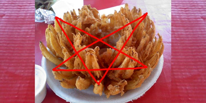 """Pentagram drawn in red on picture of an Outback Steakhouse """"Blooming Onion"""""""
