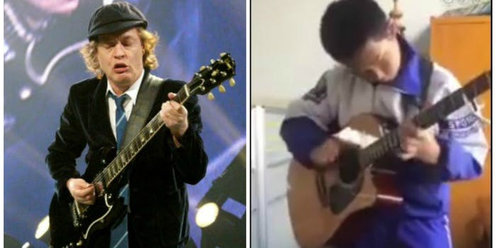 liu jiazhuo angus young acdc cover thunderstruck