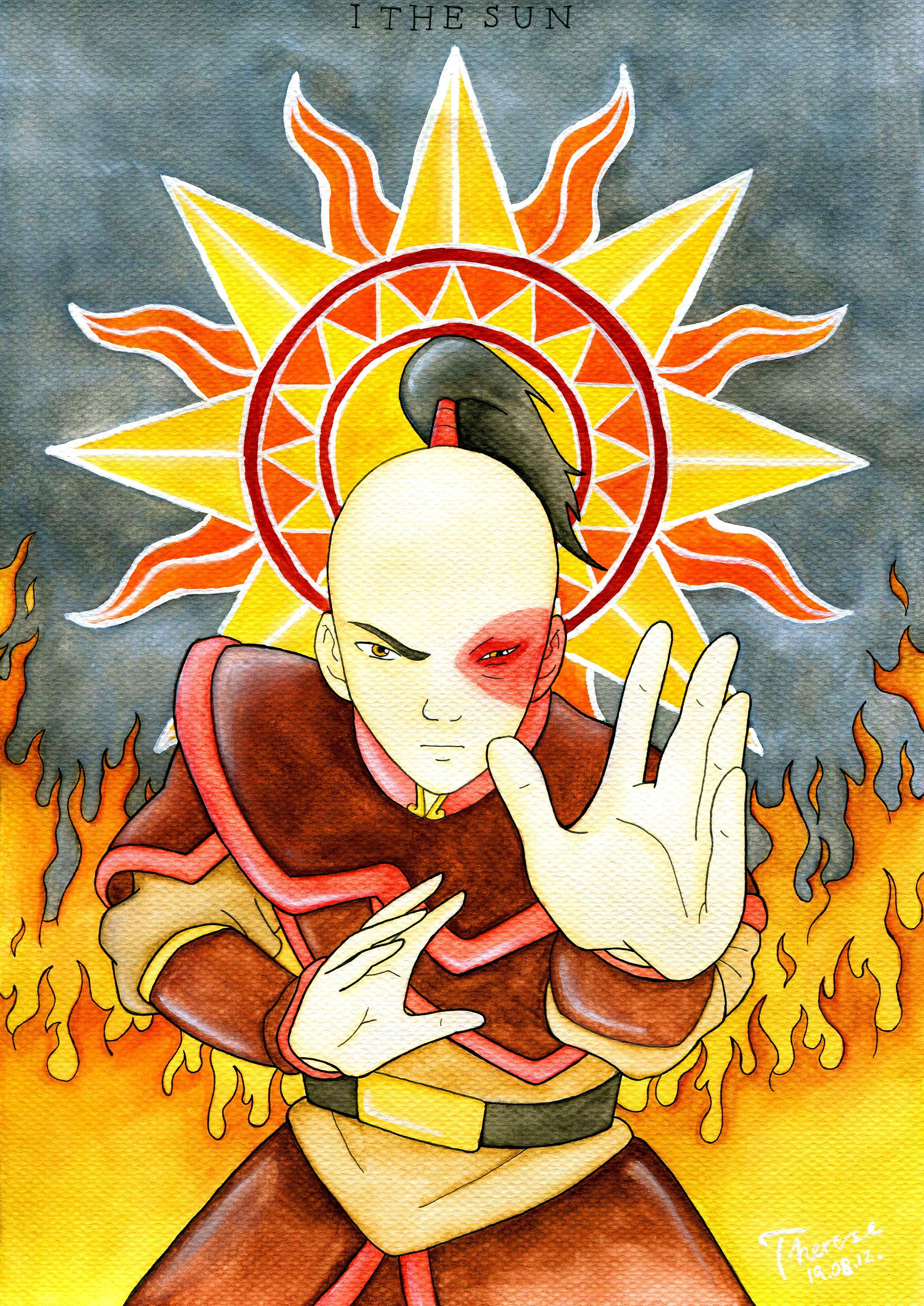 The character Zuko from Avatar: the Last Airbender as the major arcana card The Sun