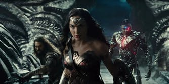 A still from the new 'Justice League' film trailer featuring Wonder Woman, Aquaman, and Cyborg.