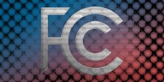 Glitched, decayed FCC logo