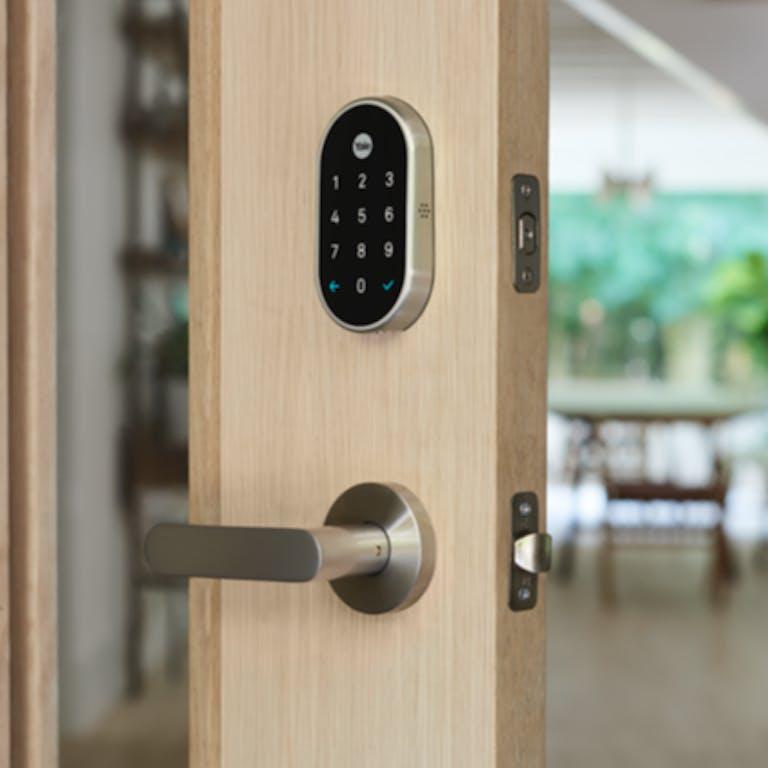 Nest x Yale lock on a door