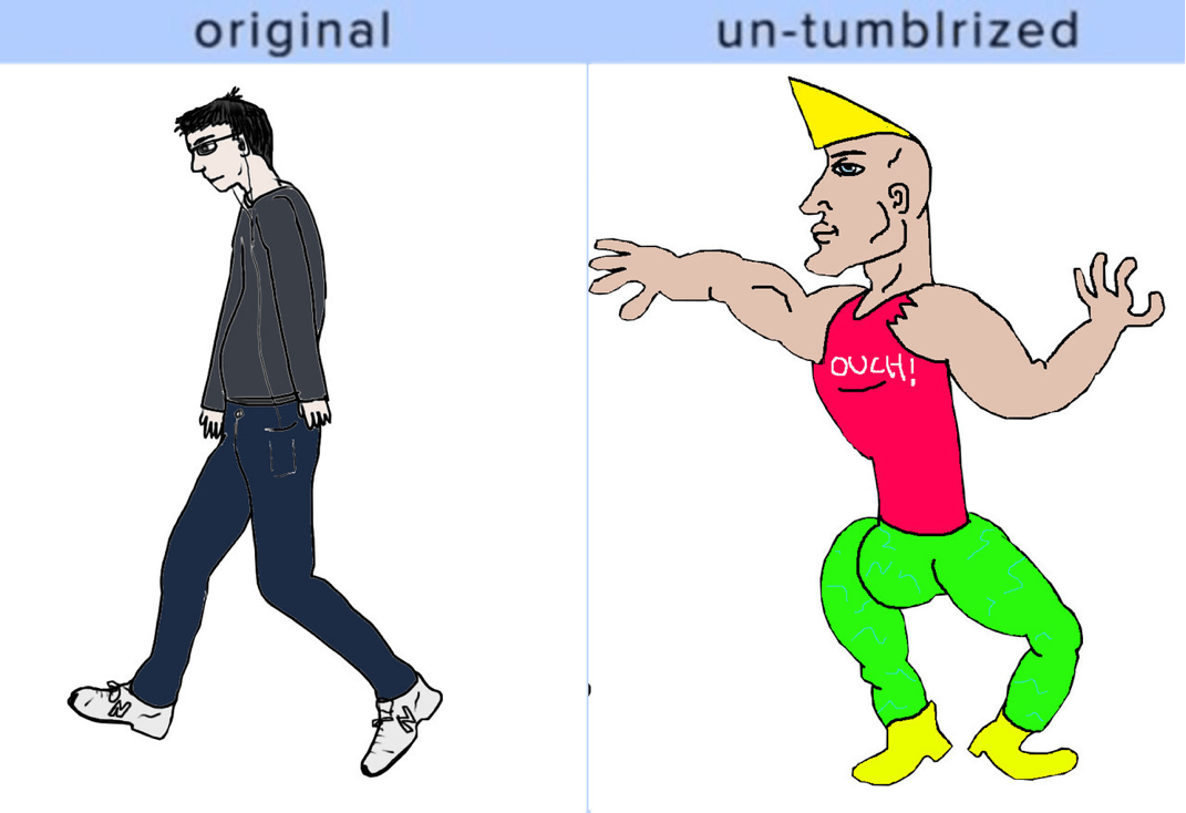 virgin vs chad untumblrized meme