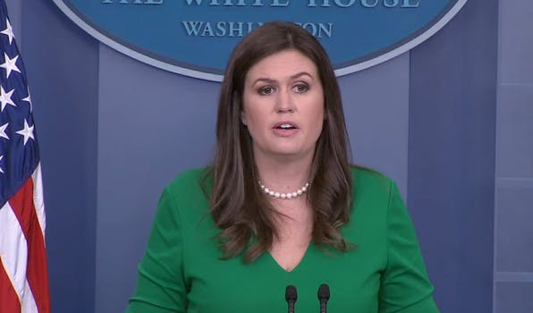 """White House Press Secretary Sarah Huckabee Sanders repeatedly evaded questions from reporters on Monday about potential gun control debates in the wake of the shooting in Las Vegas, saying it wasn't the """"time or place"""" to begin discussing policy."""