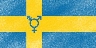 Flag of Sweden with transgender symbol
