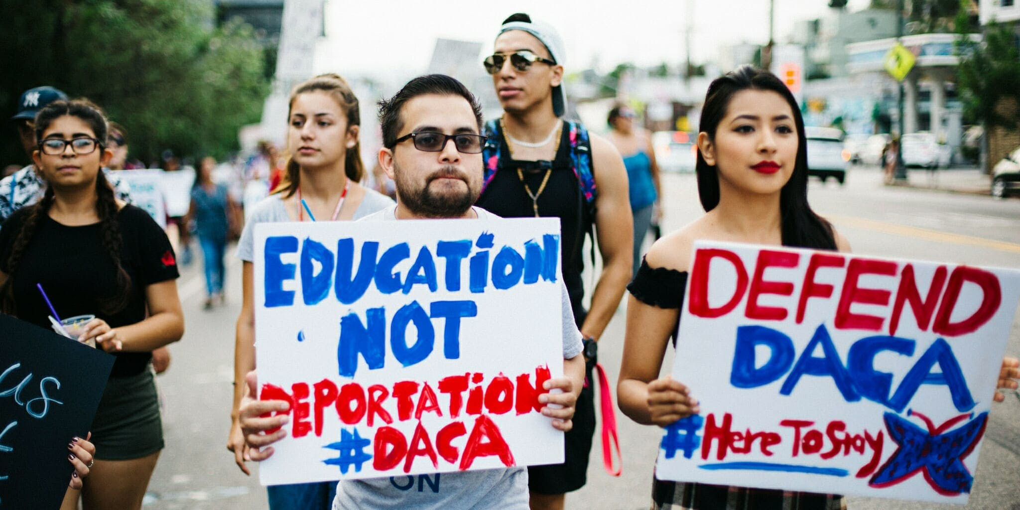 Protesters call for support for DACA in the Los Angeles March for Immigrant Rights.