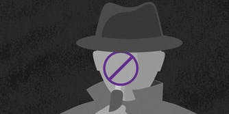 "Spy holding magnifying glass made into ""no"" symbol"