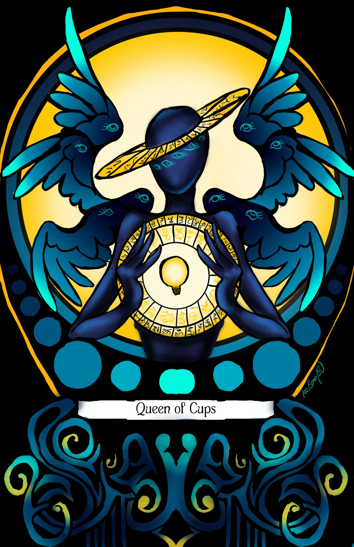 Tarot card for Welcome to Night Vale featuring the character Erika as the Queen of Cups