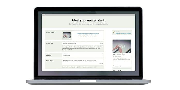 New project Kickstarter page