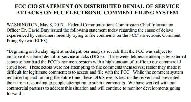 Statement from the FCC regarding Sunday's DDoS attack.