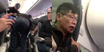 Video stills of the United Airlines passenger who was dragged off an airplane.