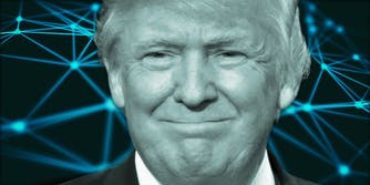Donald Trump over plot points and connected lines