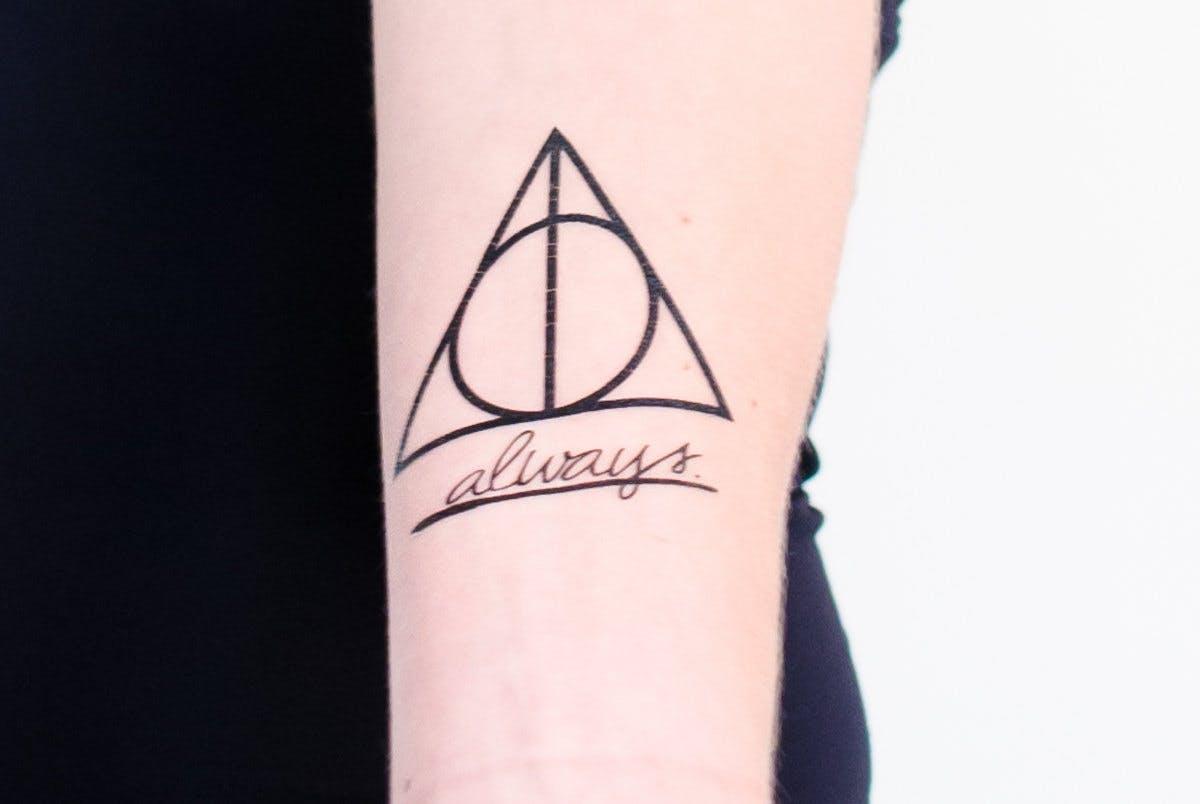 Deathly Hallows temporary tattoo.
