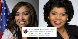 Trump HUD official Lynne Patton and White House correspondent April D. Ryan, with a tweet Patton made about Ryan's appearance.