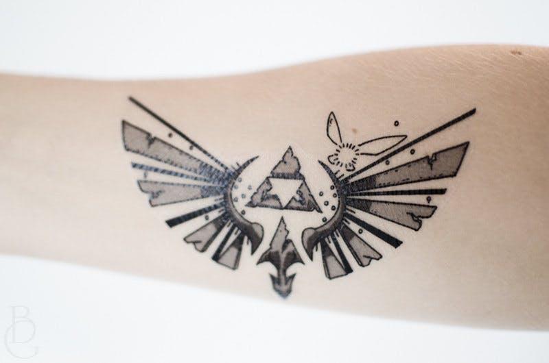 Legend of Zelda temporary tattoo.