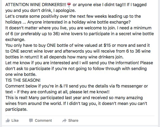 A pyramid scheme is circulating on Facebook.