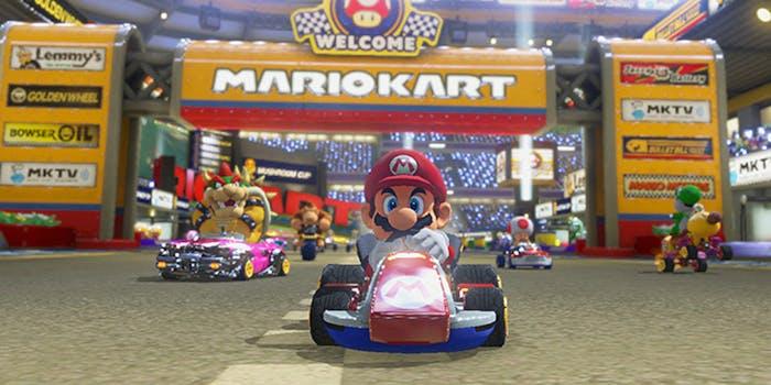 Mario, Bowser, Toad, and Donkey Kong racing in Mariokart 8