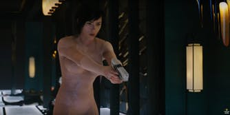 ghost in the shell scene with scarlett johansson
