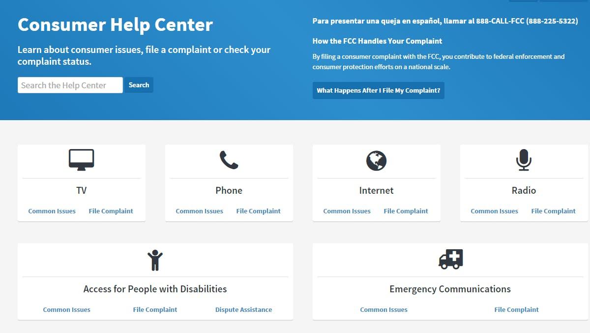 A screenshot of the FCC's new Consumer Help Center