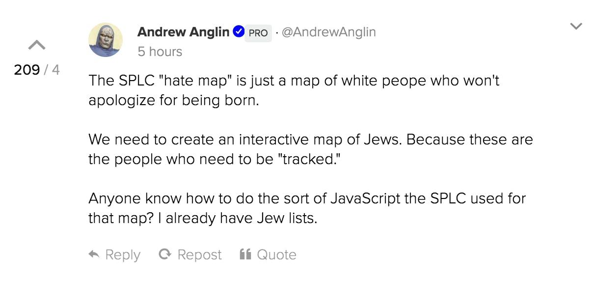 Andrew Anglin posts on Gab