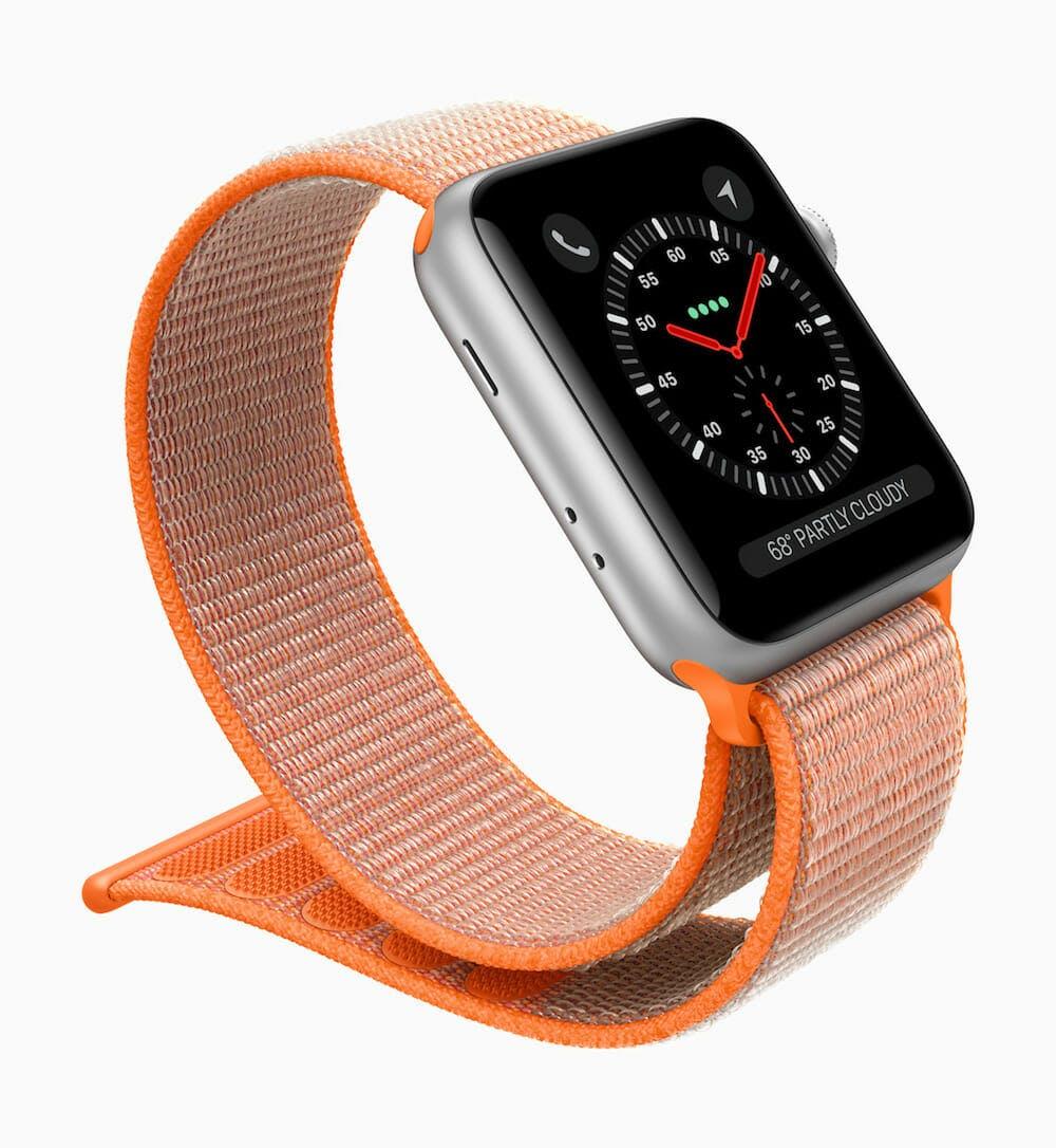 Apple Watch Series 3 with orange sport loop