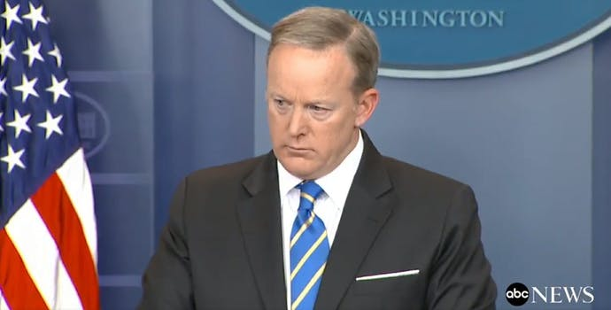 White House Press Secretary Sean Spicer answers questions on May 15.