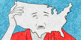 Shape of the United States as a head with a sad face