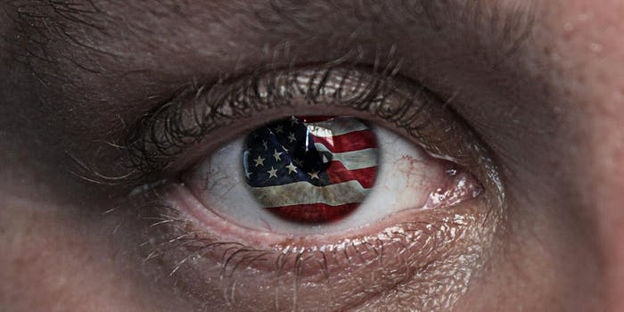 Trump dating: American flag in eye