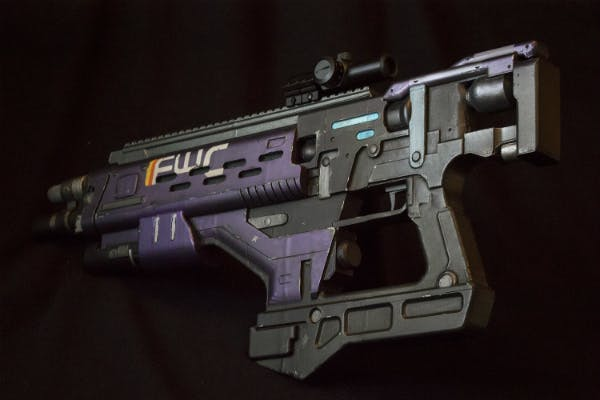 A prop replica of the fusion rifle named The Calming, from Destiny.