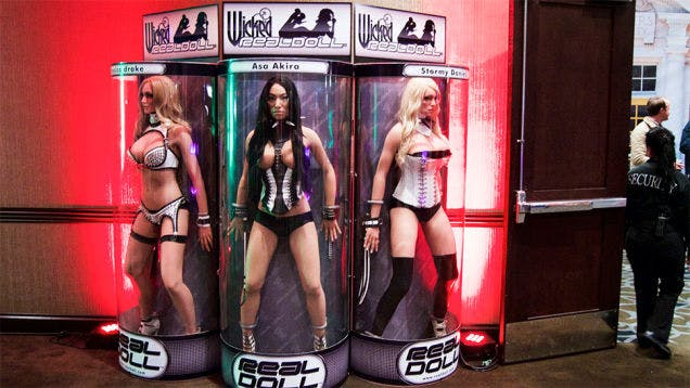 The Jessica Drake, Asa Akira, and Stormy Daniels (l-r) RealDolls on display at the 2015 AVN Expo.