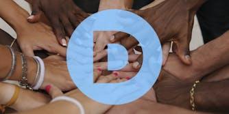 Hands together under Democratic logo
