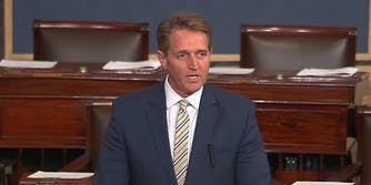 Sen. Jeff Flake (R-Ariz.) condemned President Donald Trump's attacks on the press on Wednesday. However, only two senators reportedly were in the chamber.