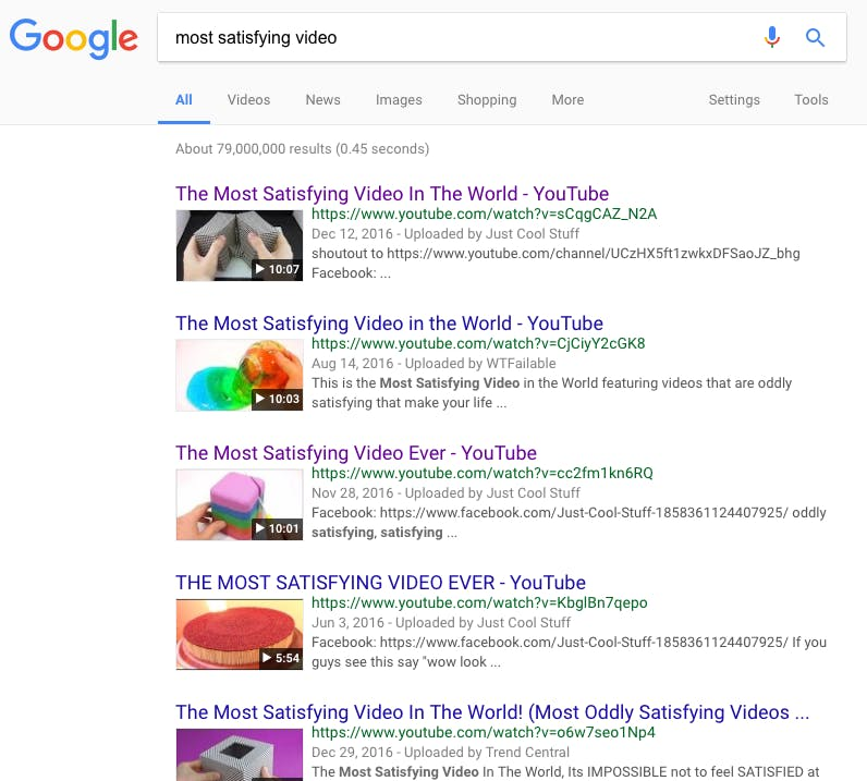 Google search for most satisfying video