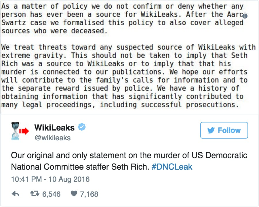 WikiLeaks Reddit The Donald Seth Rich Murder Conspiracy