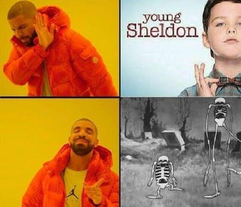 drake meme young sheldon vs spooky