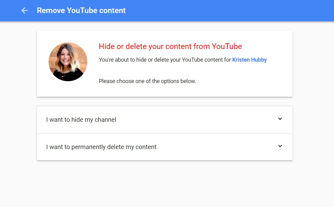 delete my youtube account