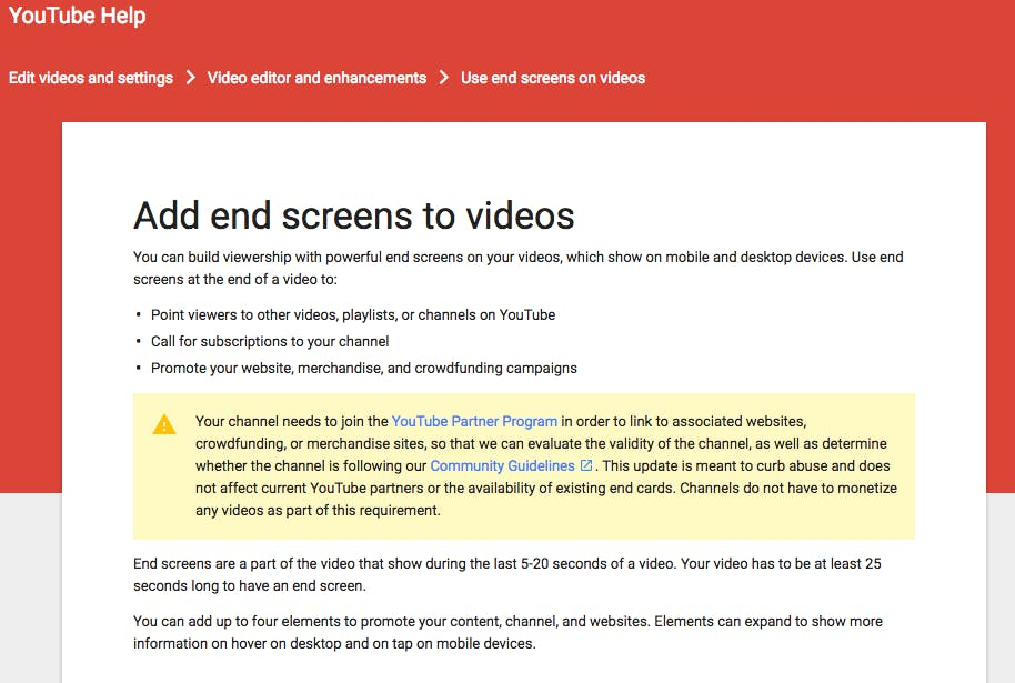 rules for end card usage on Youtube