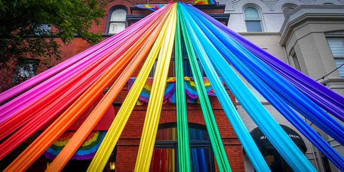 Rainbow streamers for LGBT celebration : banning conversion therapy