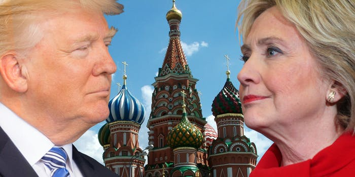 Donald Trump and Hillary Clinton in front of Kremlin buildings