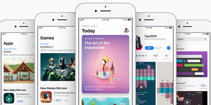 App Store screen grabs on iPhones