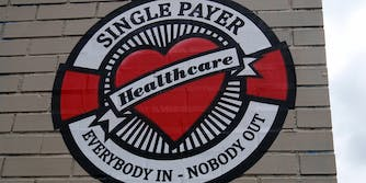 Single payer universal health care : Everybody in, nobody out slogan on heart/life preserver logo
