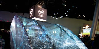 Intel logo above CES booth