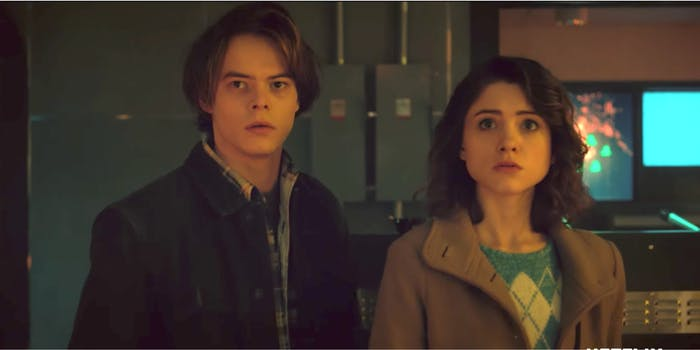 A scene from the 'Stranger Things' trailer featuring Charlie Heaton