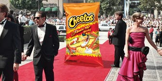 Bag of Flamin' Hot Cheetos on a red carpet