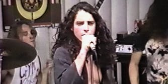 young Chris Cornell performing in a record store