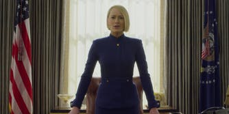 Netflix Releases Kevin Spacey-Free Trailer for 'House of Cards' - Robin Wright stands with her hands on her desk in House of Cards trailer