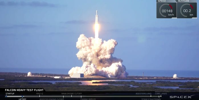 spacex falcon heavy launch liftoff
