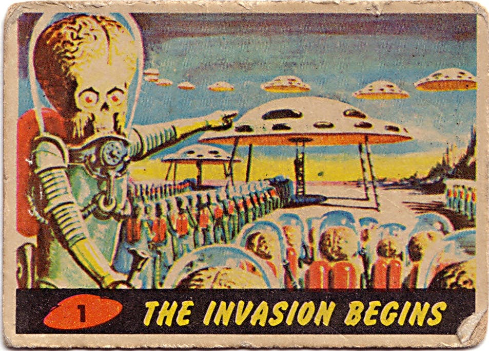 The first of the original series of 'Mars Attacks!' trading cards upon which the 1996 Tim Burton film is based