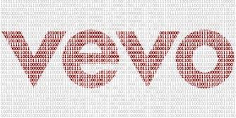 Vevo logo made from binary