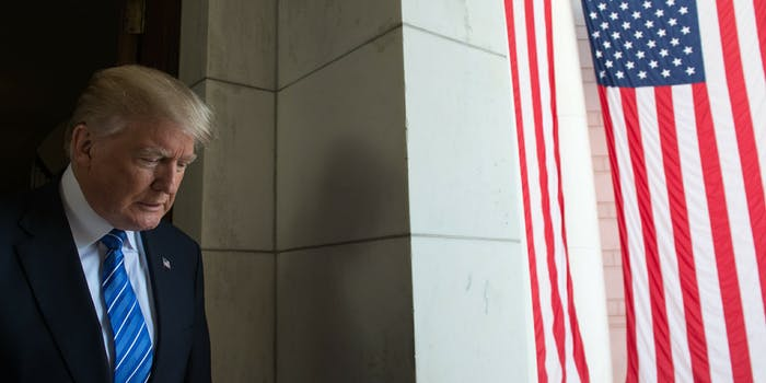 Donald Trump Next to American Flag